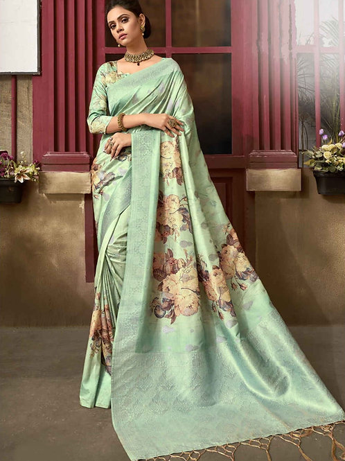 Pastel Green Floral Fancy Saree
