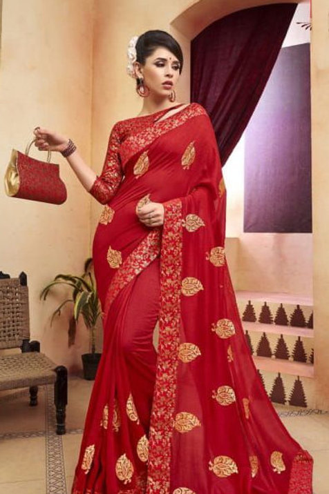 Red Fancy Saree with Embroidery