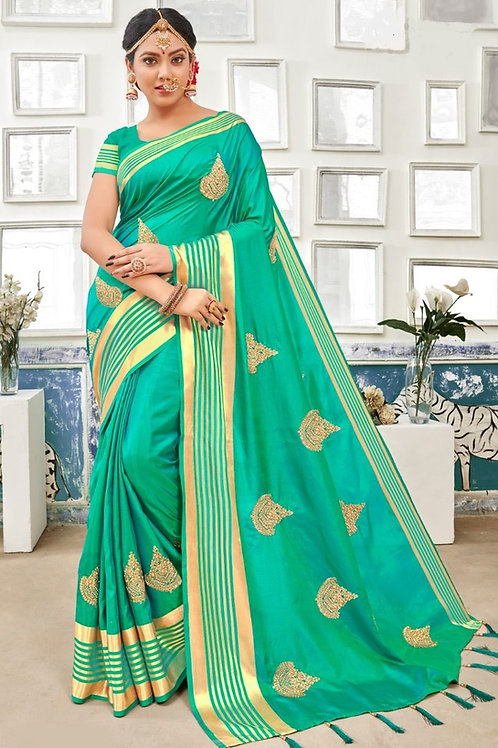 Green Fancy Saree with Zari Stone Work Throughout