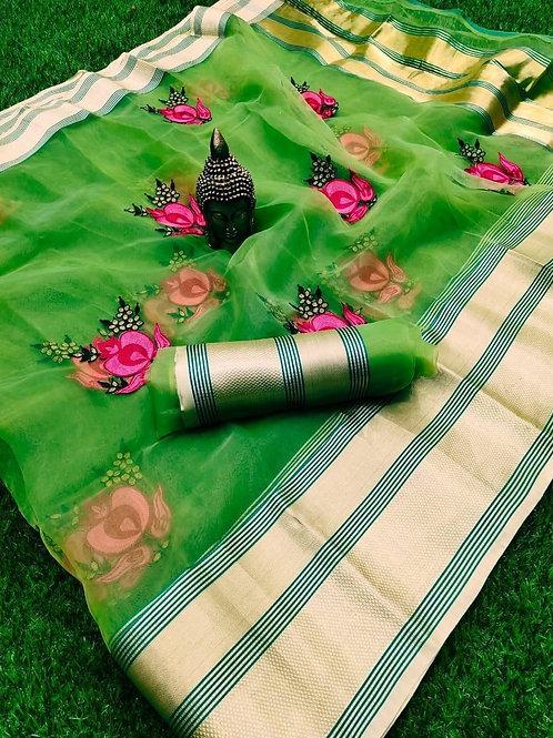 Vibrant Green Organza Saree