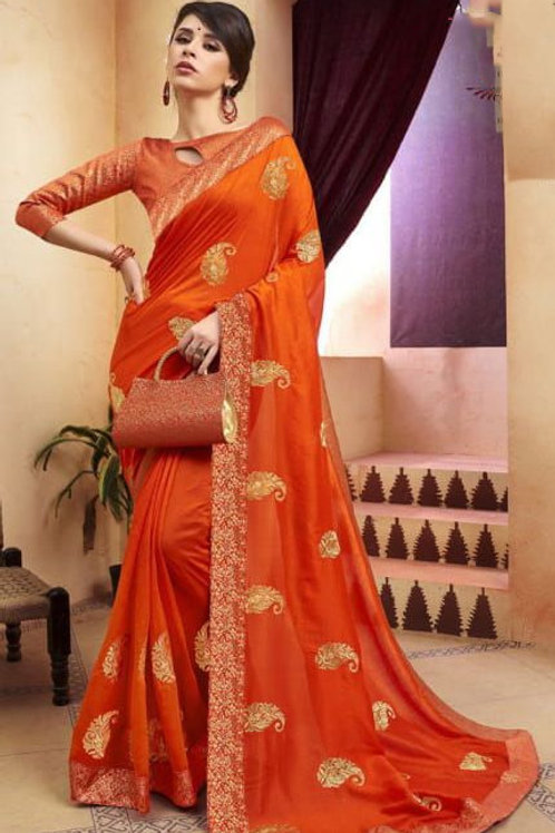 Orange Fancy Saree with Embroidery