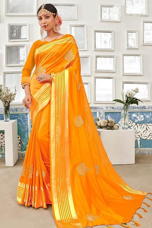 Yellow Fancy Saree with Zari Stone Work Throughout