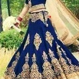 Royal Blue Velvet Lehenga with Gold Embroidery