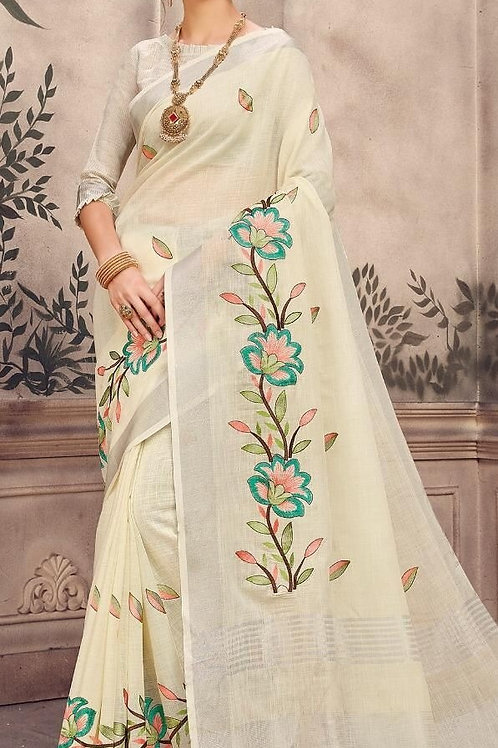 White Pure Linen Saree with Floral Embroidery