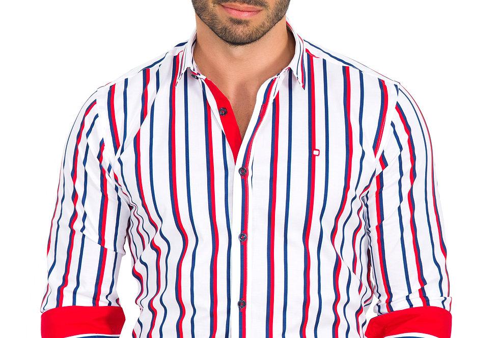 Camisa a rayas rojas y azules