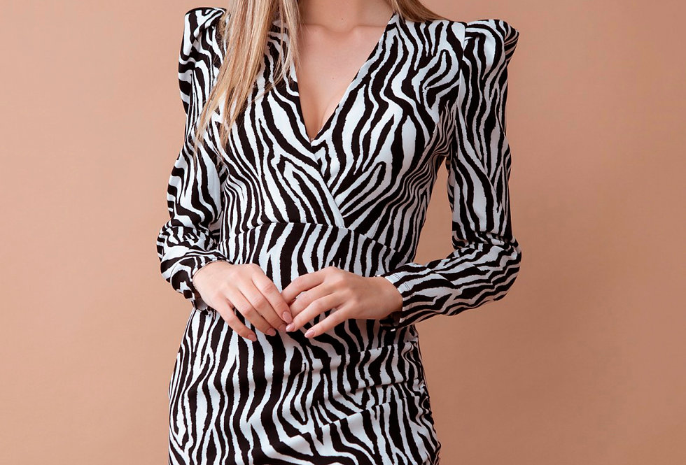 Vestido 20954 estampado de zebra de manga abullonada