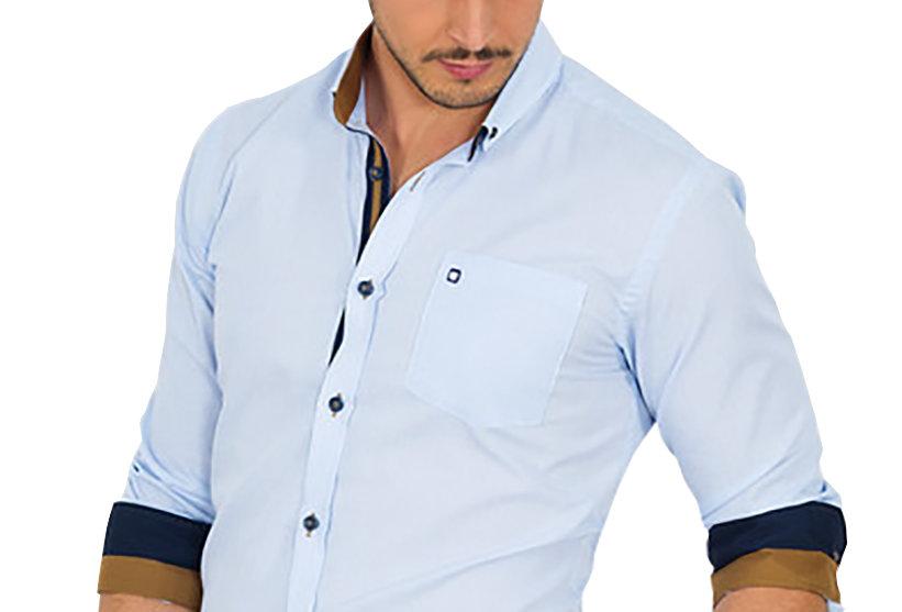 Camisa con detalles en marrón y azul 6585-91