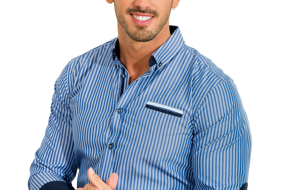 Camisa 7120 micro rayas detalles azul marino