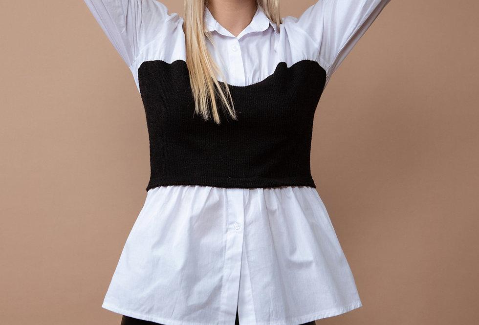 Camisa con top de punto negro