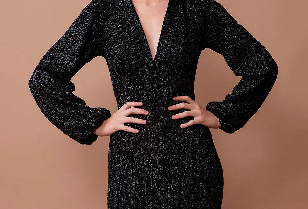 Vestido 21581 de lurex con falda fruncida y botones