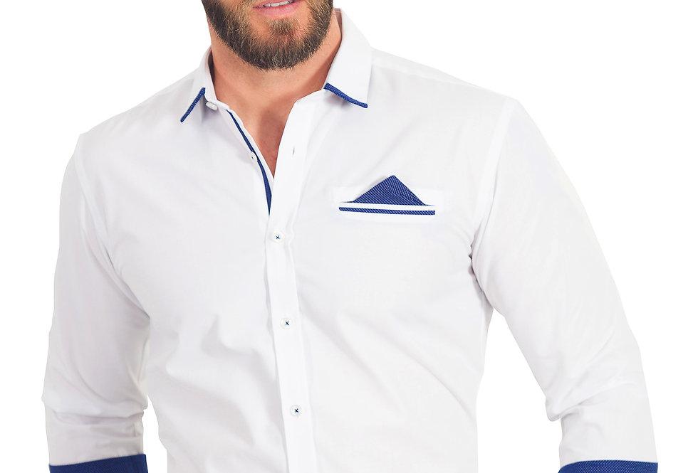 Camisa blanca con detalles azules