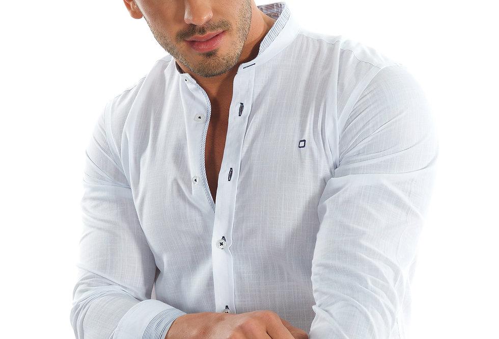 Camisa blanca cuello mao con detalles 5998-81