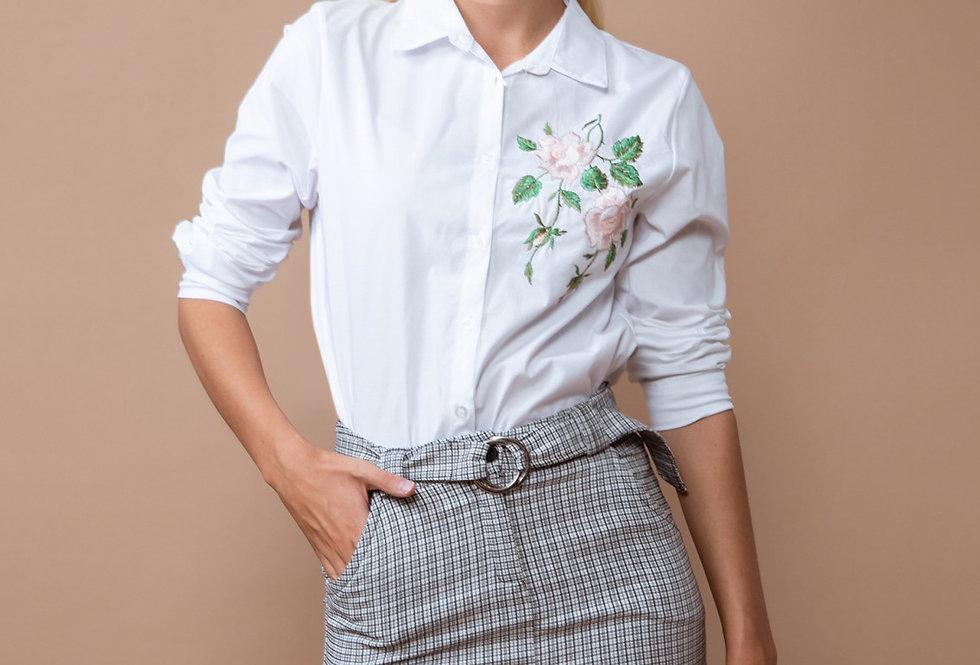Camisa manga larga con bordado flores
