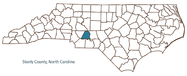Map of North Carolina with Stanly county identified