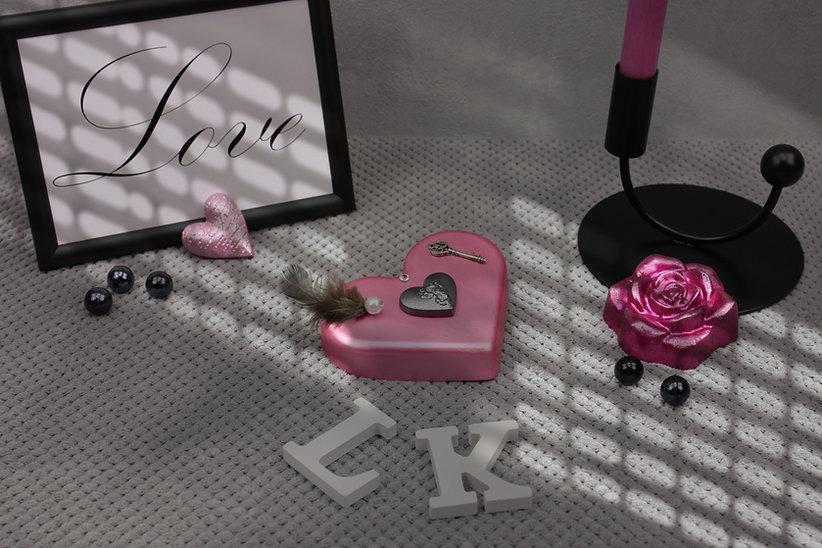 Dekoartikel Herz und Rose in Pink