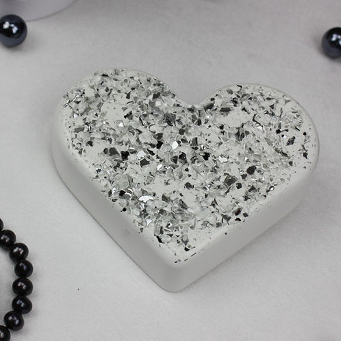 Herz White mit Glassplittern