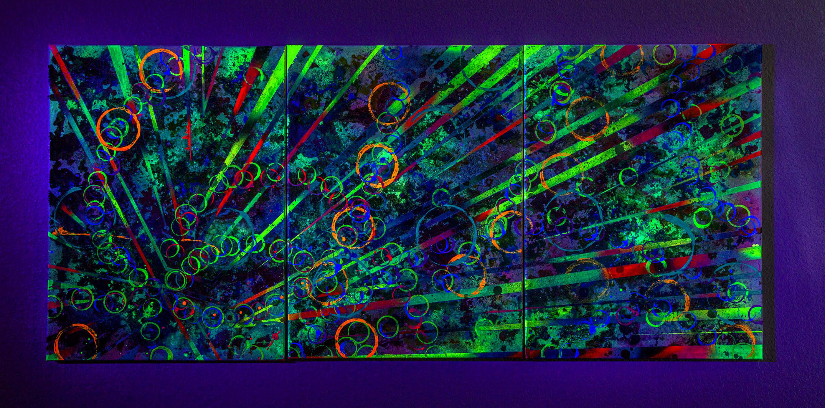 New Beginnings #5 2020. 24x55 inch. Spray Paint, Oil, Acrylic, Soda, Glows in the dark/UV reactive