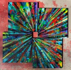 New Beginnings #3 2020. 26x26 inch. Spray Paint, Oil, Acrylic, Soda, Glows in the dark/UV reactive