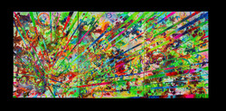New Beginnings #5 2020. 24x55 inch. Spray Paint, Oil, Acrylic, Soda, Glows in the dark/UV reactive