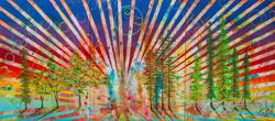 New Beginnings #6 2020. 3x6 ft. Spray Paint, Oil, Acrylic, Soda, Glows in the dark/UV reactive
