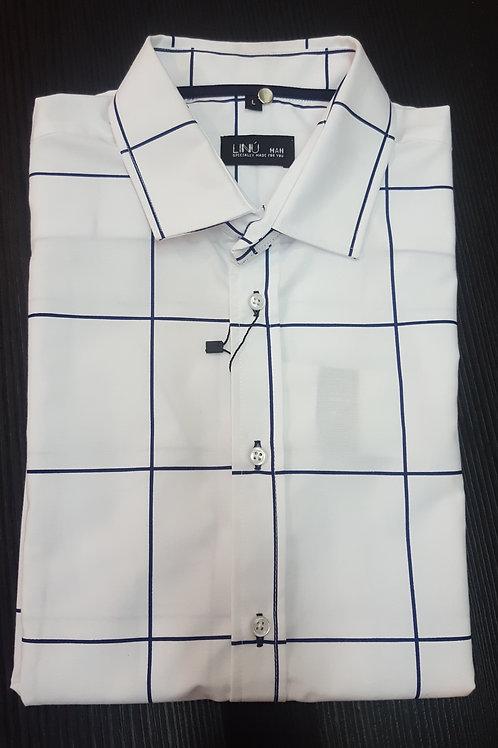 Camisa blanca cuadro m/corta