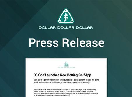 D3 Golf Launches New Betting Golf App