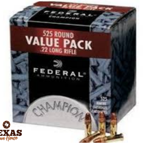 MUNICAO FEDERAL CAL.22 LR 36GR CHAMPION PLATED HP CX. C/525 UNID.