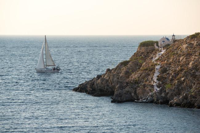 Sail boat sailing the Aegean Sea.
