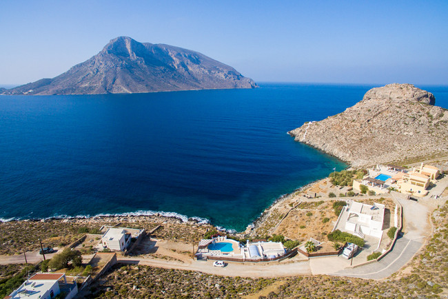 View of the Aegean Sea and Telendos Island