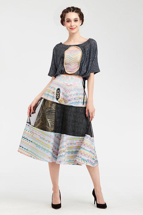 Skirt High Waist - Royal Summer Stamp