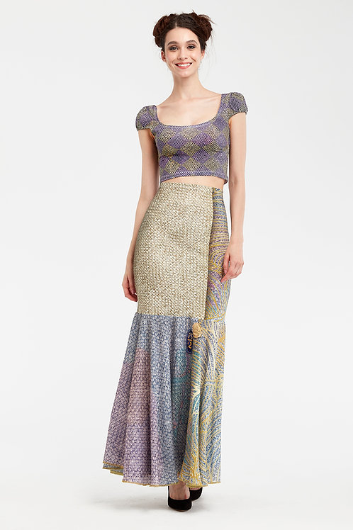Skirt Long Ruffled - Royal Summer Stamp