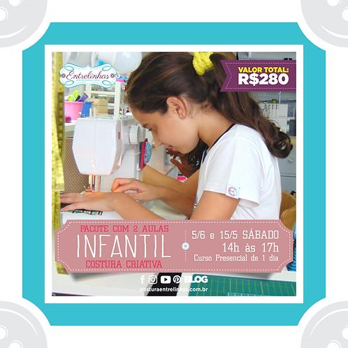 PACOTE 2 AULAS   COSTURA CRIATIVA INFANTIL - 15/MAIO e 5/JUN
