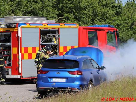 Bil i brand på Industriparken i Ørslev