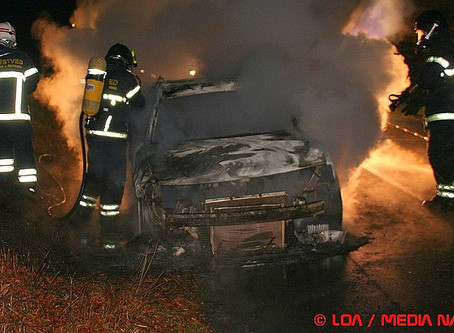 Brand i bil på Klosterparks Allé