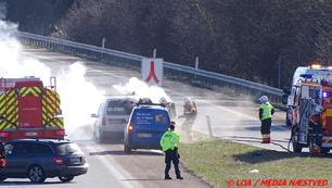 Lang kø i forbindelse med bilbrand på Sydmotorvejen