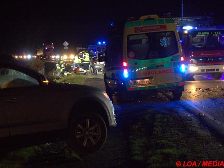 Frontalt færdselsuheld spærrede rute 22 Slagelsevej ved Kyse
