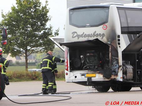 Bus i brand på Cargovej i Nørre Alslev