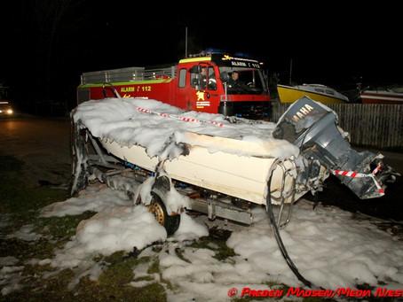 Brand i motorbåd på Kanalvej i Næstved kan være påsat.