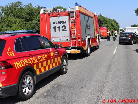 Færdselsuheld nord for Faxe spærrede Rute 209 Køgevej totalt.