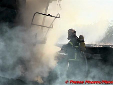 Mejetærsker brændte i Toksværd lørdag eftermiddag