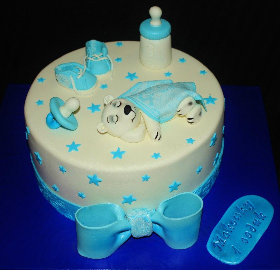 торт на годик с мишкой