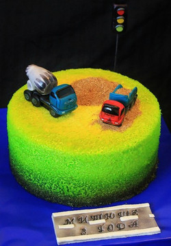 Тортик с самосвалом и бетономешалкой