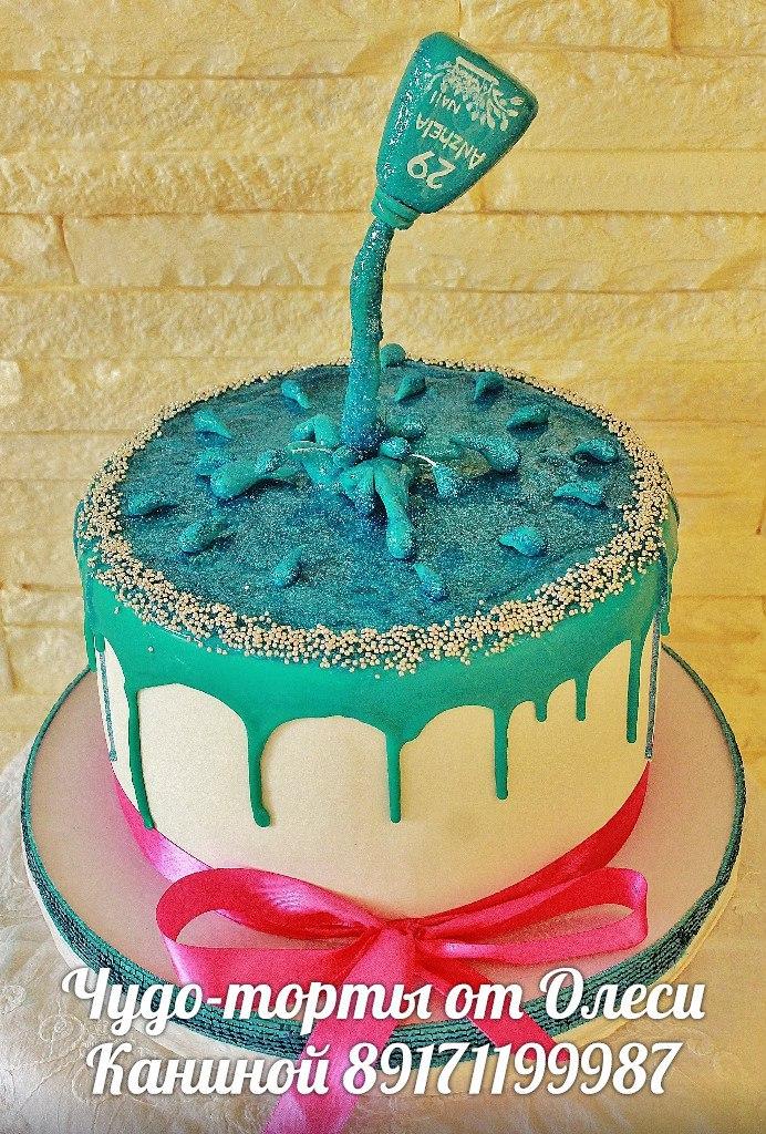 Торт с лаком для ногтей