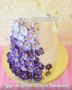 Торт с сиренью на свадьбу