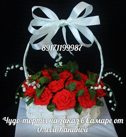 Торт розы в корзине