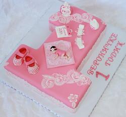 торт единичка розовый