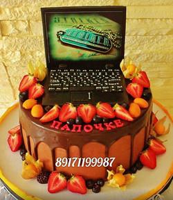 Торт папе с ноутбуком