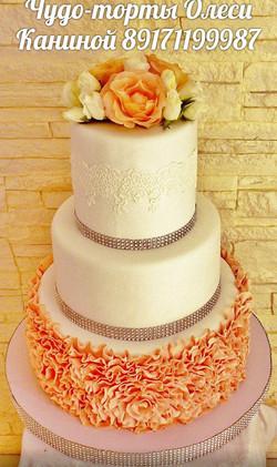 Цветочный свадебный торт