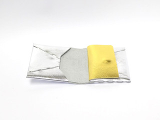 bi-fold wallet silver×gold