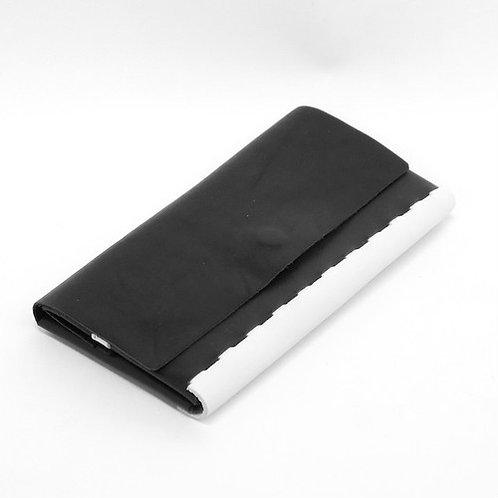 フラップ付きロングウォレット  ブラック×ホワイト  ES-FLW